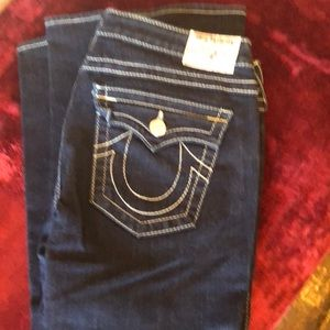True Religion jeans blue with white stitching